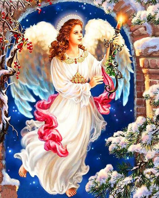 Картина по номерам 40x50 Ангел в зимней ночи