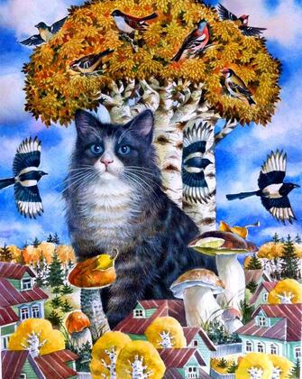 Купить кошка, сороки и грибы за 770 руб. в Москве