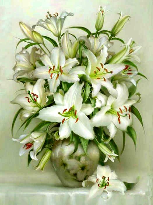 Картина по номерам 40x50 Большой букет королевских лилий