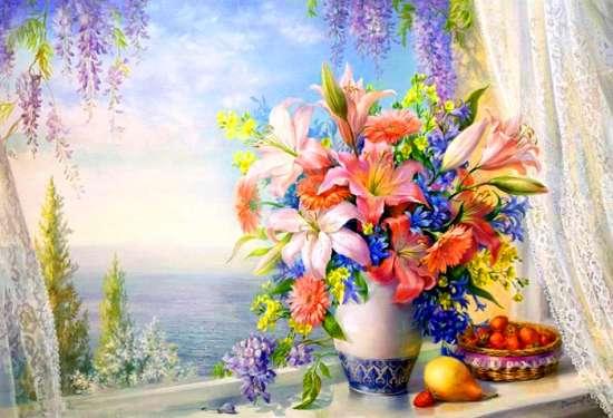 Картина по номерам 40x50 Красивейший букет и фрукты у окна