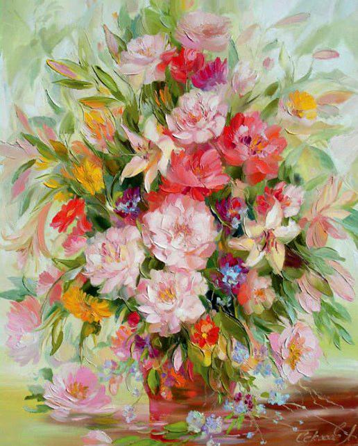 Картина по номерам 40x50 Ваза с большим букетом летних цветов