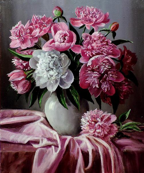 Картина по номерам 40x50 Нежно-белая ваза с букетом пионов