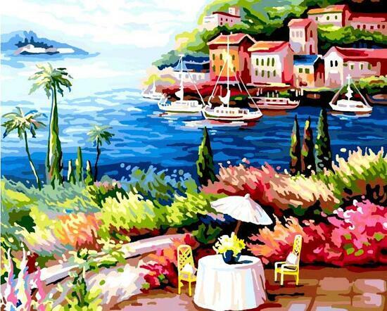 Картина по номерам 40x50 Бухта курортного города