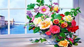 Картина по номерам 40x50 Букет на окне с видом на море