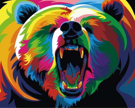 Картина по номерам 40x50 Большой грозный медведь. Поп-арт