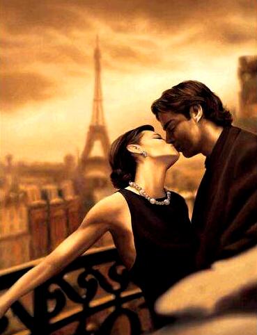 Картина по номерам 40x50 Страстный поцелуй в Париже