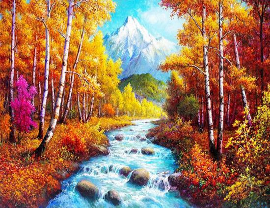 Картина по номерам 40x50 Осенний лес на фоне заснеженной горы