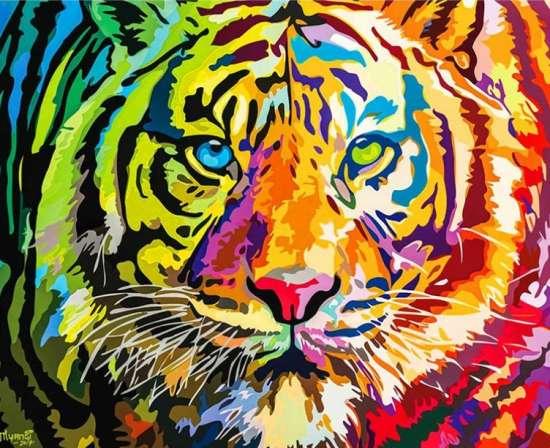 Картина по номерам 40x50 Грозный тигр в ярких цветах радуги