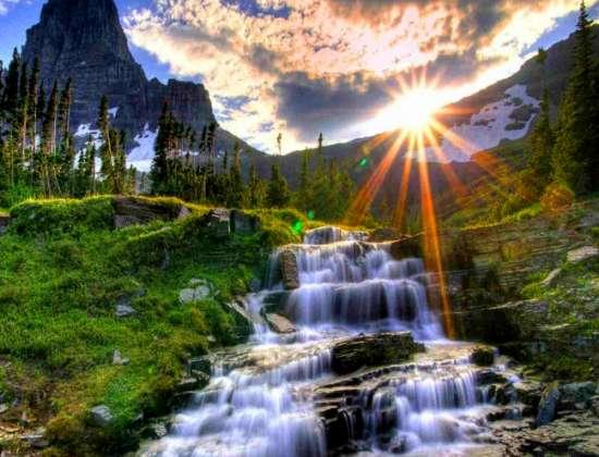 Картина по номерам 40x50 Яркое солнце и горный ручей