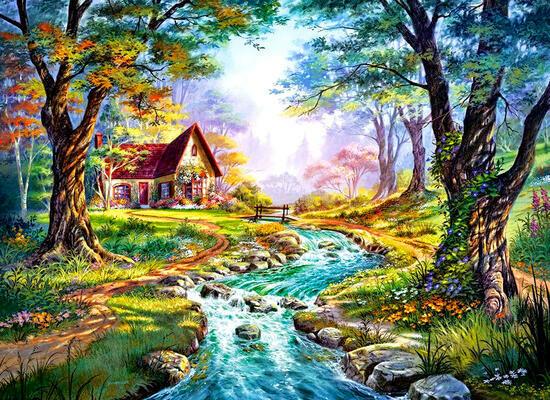 Картина 30x40 Восход солнца и домик у реки
