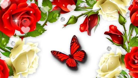 Алмазная мозаика 30x40 Красная бабочка среди белых и красных роз