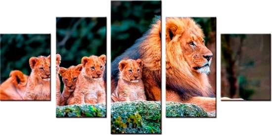 Модульное рисование по номерам Большая семья львов