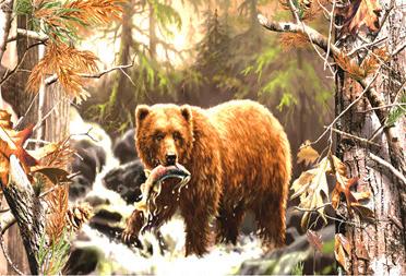 Мозаика 40x50 без подрамника Медведь поймал рыбу