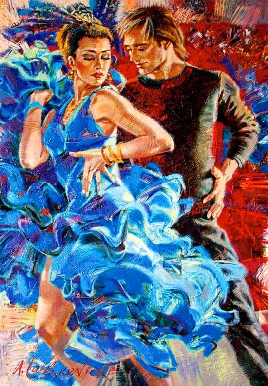 Мозаика 40x50 без подрамника Страстный танец в паре