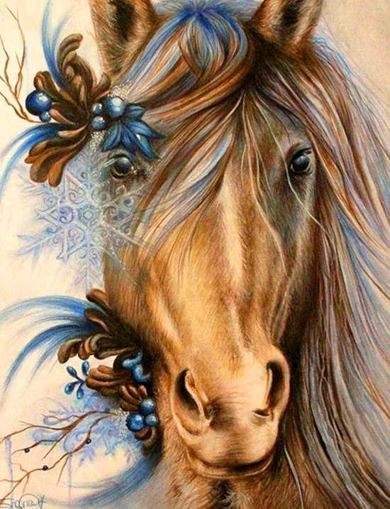 Алмазная мозаика 17x22 Лошадь с красивой прической