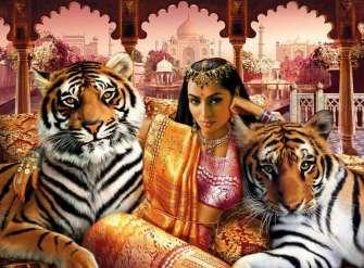Вышивка крестиком Восточная девушка и два тигра