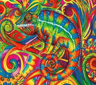 Алмазная мозаика 40x50 Хамелеон в режиме маскировки