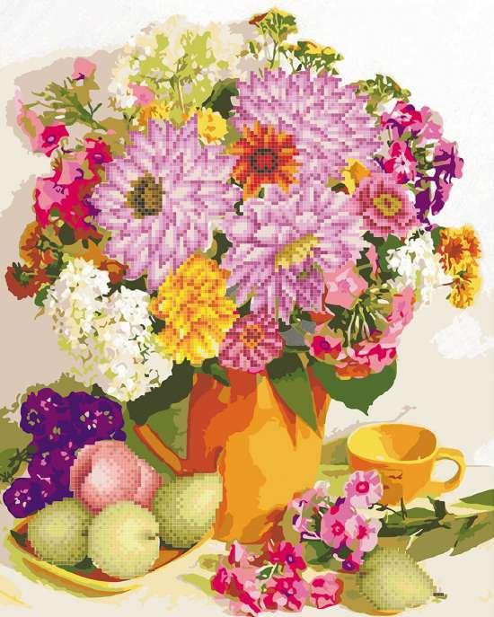Алмазка-раскраска Цветы и фрукты на летнем столе